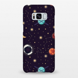 Galaxy S8+  Universe with planets, stars and astronaut helmet seamless pattern, cosmos starry night sky, vector illustration by Jelena Obradovic