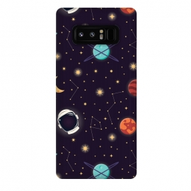 Galaxy Note 8  Universe with planets, stars and astronaut helmet seamless pattern, cosmos starry night sky, vector illustration by Jelena Obradovic