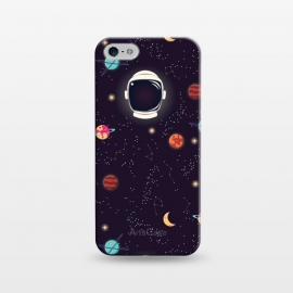 iPhone 5/5E/5s  Universe with planets, stars and astronaut helmet seamless pattern, cosmos starry night sky by Jelena Obradovic