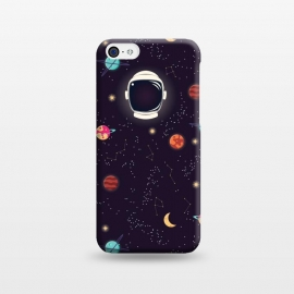 iPhone 5C  Universe with planets, stars and astronaut helmet seamless pattern, cosmos starry night sky by Jelena Obradovic