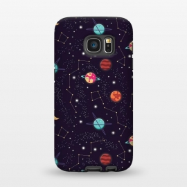 Galaxy S7  Universe with planets and stars seamless pattern, cosmos starry night sky 004 by Jelena Obradovic