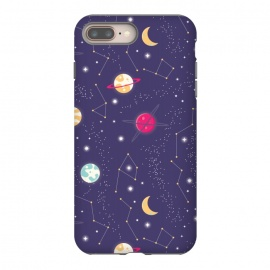Universe with planets and stars seamless pattern, cosmos starry night sky 006 by Jelena Obradovic