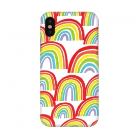 iPhone X  Rainbow Shine by Rhiannon Pettie (rainbows,rainbow,weather,pattern,gouache,painted)