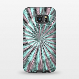 Galaxy S7  Fractal Spiral Rosegold And Teal by Andrea Haase