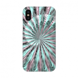 iPhone X  Fractal Spiral Rosegold And Teal by Andrea Haase