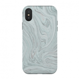 iPhone Xs/X  Teal Grey Soft Pastel Marble by Andrea Haase