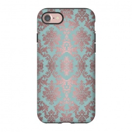 iPhone 8/7  Rose Gold Teal Damask Pattern by Andrea Haase