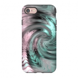 iPhone 8/7  Abstract Fractal Swirl Rose Gold And Teal by Andrea Haase