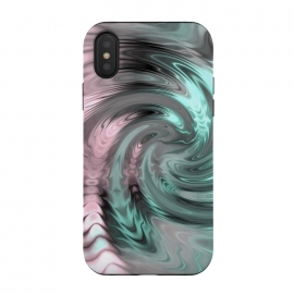 iPhone Xs / X  Abstract Fractal Swirl Rose Gold And Teal by Andrea Haase
