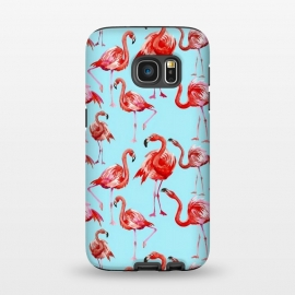 Galaxy S7  Flamingos on Blue by Utart