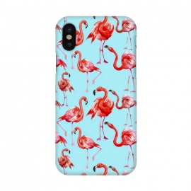 iPhone X  Flamingos on Blue by Utart