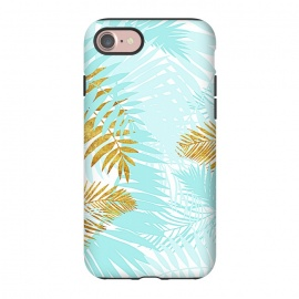 iPhone 8/7  Teal and Gold Palm Leaves by Utart