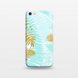 iPhone 5C  Teal and Gold Palm Leaves by Utart