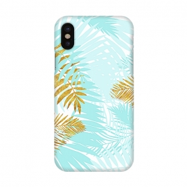 iPhone X  Teal and Gold Palm Leaves by Utart