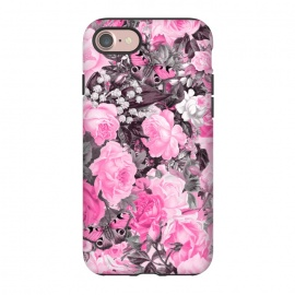 iPhone 8/7  Nostalgic Pink Rose And Butterfly Pattern by Andrea Haase