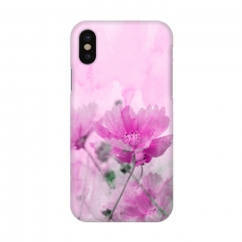 iPhone X  Pink Cosmea Watercolor Art by