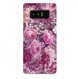 Galaxy Note 8  Vintage Pink Rose Butterfly Pattern by Andrea Haase
