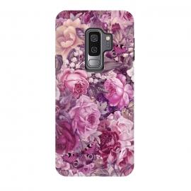Galaxy S9 plus  Vintage Pink Rose Butterfly Pattern by  (flower, floral, vintage, retro, pink, pastel, soft, nostalgic, romantic, blossom, bloom,  gift, nature, botany, leaf, illustration, feminine, summer, spring,Butterfly,Rose)