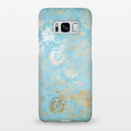 Galaxy S8+  TEAL and GOLD Damask Pattern by Utart