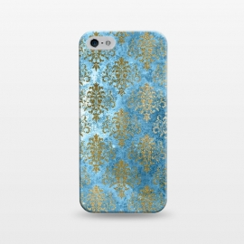 iPhone 5/5E/5s  Blue and Gold Trendy Vintage Damask Pattern by Utart