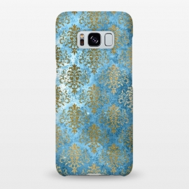 Galaxy S8+  Blue and Gold Trendy Vintage Damask Pattern by Utart