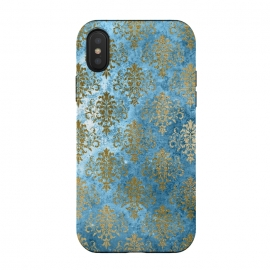 Blue and Gold Trendy Vintage Damask Pattern by Utart