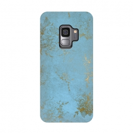 Galaxy S9   Gold Damask on Sky Blue  by Utart (metal, blur, brilliant, twinkle, valentines day, elegant, fashion, gleam, gloss, brilliance, rose gold, romantic, shimmer, flare, glossy, sparks, glisten,teal,turquoise,blue,aqua,flowers,nature, outdoors, outdoor, girly, woman, women, feminine ,trendy ,chic ,springlike,retro,pattern,girly,trendy,mod)