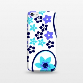 iPhone 5C  blue floral pattern 2 by MALLIKA