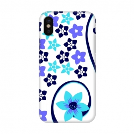 iPhone X  blue floral pattern 2 by MALLIKA