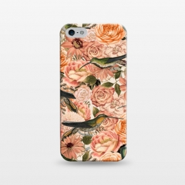 iPhone 5/5E/5s  Vintage Flower And Hummingbird Pattern by Andrea Haase
