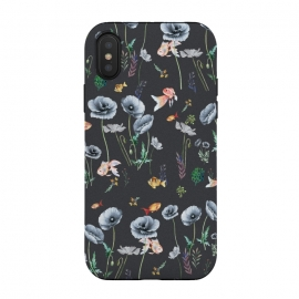 iPhone Xs / X  Fishes & Garden by ''CVogiatzi. (cv, cvogiatzi, new, design, decor, art, minimalism, pattern, fishies, fish, flowers, reef, watercolor, fishes, aquarium, poppies, poppy, garden, leaves, black, grey, rose, ocean, sea, plants, plant, green, floral)