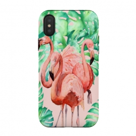 iPhone Xs / X  Flamingo Ivelin by ''CVogiatzi. (cvogitzi, new design, decor, home, beach, leaves, leaf, exotic, dream, digital, watercolor, pink, design, cv, wall, art, summer, vacations, girly, happy, top, sweet, kinds, girls, animals, animal, flamingo, tropic)