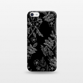 iPhone 5C  DarkRoses by Dunia Nalu (dark, black,white,B&W,floral,botanical,nature,flowers,flower,minimalist)