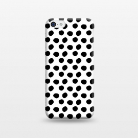 iPhone 5C  Hand drawn black polka dots on white by DaDo ART