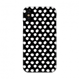 iPhone X  Hand drawn white polka dots on black by DaDo ART