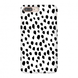 iPhone 8/7 plus  Hand drawn black crazy polka dots on white by
