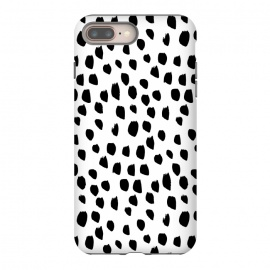 Hand drawn black crazy polka dots on white by DaDo ART