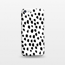 iPhone 5C  Hand drawn black crazy polka dots on white by DaDo ART