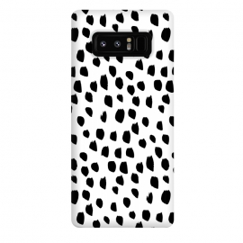 Galaxy Note 8  Hand drawn black crazy polka dots on white by DaDo ART