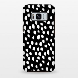 Galaxy S8+  Hand drawn crazy white polka dots on black by DaDo ART