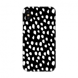 iPhone X  Hand drawn crazy white polka dots on black by DaDo ART