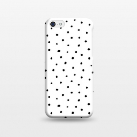 iPhone 5C  Hand drawn little black polka dots on white by DaDo ART