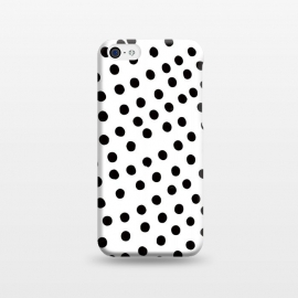 iPhone 5C  Drunk black polka dots on white by DaDo ART