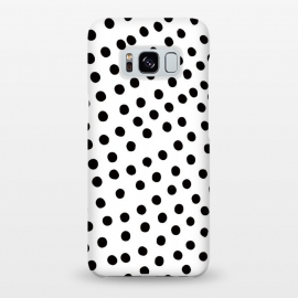 Galaxy S8+  Drunk black polka dots on white by DaDo ART