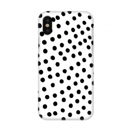 iPhone X  Drunk black polka dots on white by DaDo ART