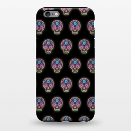 iPhone 6/6s plus  Neon sugar skull pattern by Laura Nagel