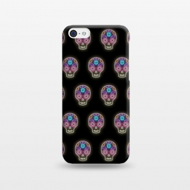 iPhone 5C  Neon sugar skull pattern by Laura Nagel