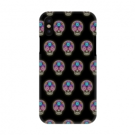 iPhone X  Neon sugar skull pattern by Laura Nagel