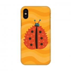 iPhone X  Orange Ladybug With Autumn Leaf Disguise by Boriana Giormova