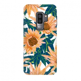 Galaxy S9 plus  Blush Sunflowers by  (pattern, floral, sunflower, sunflowers, flowers, nature, botanical, garden, meadow, blossom, bloom, leaves, foliage, hand drawn)